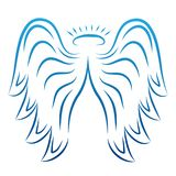 Angel wings drawing vector illustration. Winged angelic tattoo icons. Wing feather with halo, artistic artwork sketch vector illustration