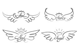 Angel wings drawing vector illustration. Winged angelic tattoo icons. Wing feather with halo, artistic artwork sketch Stock Photography