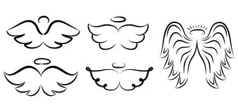 Angel wings drawing vector illustration. Winged angelic tattoo i. Cons. Wing feather with halo, artistic artwork sketch Royalty Free Stock Image
