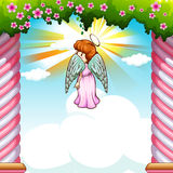 Angel with wings flying in garden. Illustration Stock Images