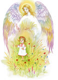 Angel with wings flying over baby girl. Beautiful angel with wings flying over baby girl Royalty Free Stock Photo