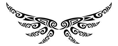 Angel wings flying tattoo tribal stylised maori koru design royalty free stock photo
