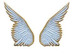 Angel wings. Gold and sky blue sculpted wings isolated on white Stock Photo