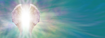 Angel Wings and Healing Light Banner Stock Images