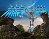 Angel with wings. High in the mountains and beautiful nature Royalty Free Stock Photo