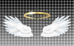 Angel wings icon with nimbus. Stock vector stock illustration