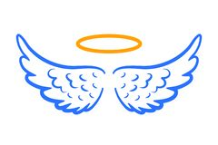 Free Angel Wings Icon With Nimbus – Vector Royalty Free Stock Image - 139046316