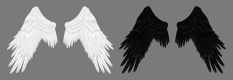 Angel wings. Illustration of white angel wings and black devil wings royalty free illustration