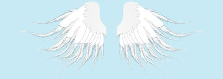 Angel wings isolated on the blue background. Wings of the Seraph Stock Images