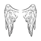 Angel wings isolated on white background hand drawn vector illustration. Black work, flash tattoo or print design.  Royalty Free Stock Image