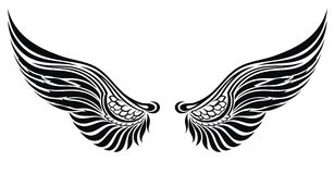 Angel wings isolated on white. Tattoo design