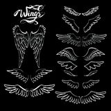 Angel wings , lettering, drawing. Icon Royalty Free Illustration