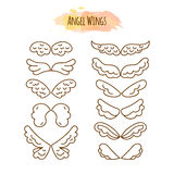 Angel Wings in Line Style. Wing Design Collection. Hand Drawn Set. Vector Illustration Stock Illustration