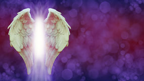 Angel Wings and Magenta Healing Light Banner Stock Image