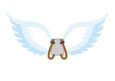 Angel Wings Mochila con las alas blancas Alas de los cupidos a ahorrar Foto de archivo