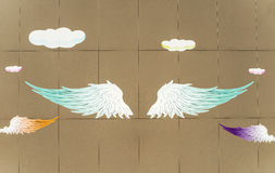 Angel wings painted on the wall illustration background Royalty Free Stock Images