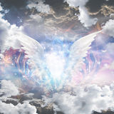 Angel wings pull apart seam of mortals reveal Royalty Free Stock Photography