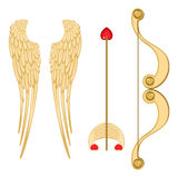 Angel wings, retro cupid bow and arrow with heart vector. Angel wings, retro cupid bow and arrow with heart realistic vector illustration of accessories for Stock Photography