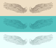 Angel wings set illustration, engraved style, hand drawn Royalty Free Stock Photography