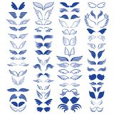 Angel wings sketch big set 60 objects. Vector illustration Stock Photography