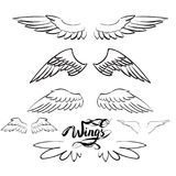 Angel wings vector, lettering, drawing. Set Royalty Free Illustration