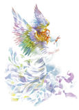 Angel with wings watercolor illustration. Royalty Free Stock Image
