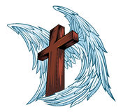 Angel wings with wooden cross Royalty Free Stock Photo
