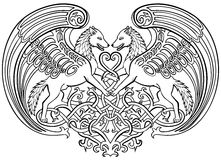 Angel wolves in love Celtic ornament Stock Photos