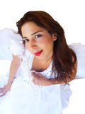 Angel Woman. Young beautiful woman in an angel costume isolated on white Stock Photo