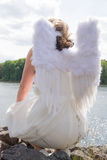 Angel woman from behind Royalty Free Stock Photos