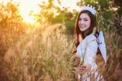 Angel woman in a grass field with sunlight. Beautiful angel woman in a grass field with sunlight Royalty Free Stock Photography