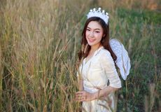 Angel woman in a grass field with sunlight. Beautiful angel woman in a grass field Royalty Free Stock Photo
