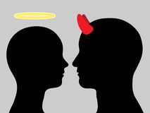 Angel woman and man devil head silhouette in love Royalty Free Stock Photos