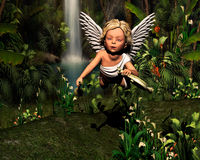 Angel in the woods. Wonderful flying angel with flute in the woods Royalty Free Stock Image