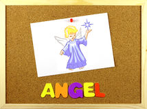 Angel word on a corkboard Stock Image