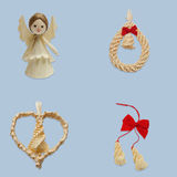 Angel, wreath with bell, heart and two drops Stock Photography