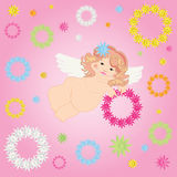 Angel and wreaths of flowers. Angel and wreaths of flowers on pink background Stock Photo