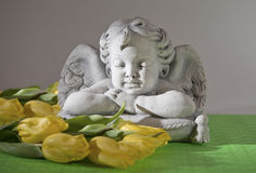 Angel. With yellow tulip flowers Stock Image