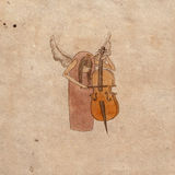 Angel1. An angel with contrabass on old paper Royalty Free Stock Images