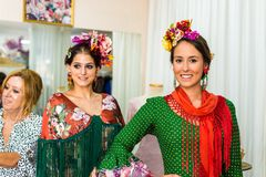 Angela and Adela design workshop in Seville, Andalusia, Spain. SEVILLE, ES - JULY 28, 2017: Angela and Adela design workshop, known for their flamenco dresses royalty free stock photos