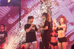 Angela Lee of Singapore and Jenny Huang of Chinese Taipei in One Championship `One : Warrior Kingdom`. BANGKOK - MARCH 11 : Angela Lee of Singapore and Jenny Royalty Free Stock Photo