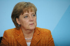 Angela Merkel. JULY 12, 2007 - BERLIN: Chancellor Angela Merkel during a press conference in the Chanclery stock photos