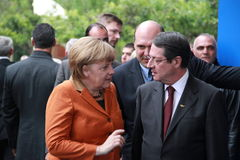 Angela Merkel Anastasiades i Nicos, rywal prezydenta Obraz Stock