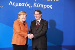 Angela Merkel Anastasiades i Nicos, rywal prezydenta Obrazy Royalty Free