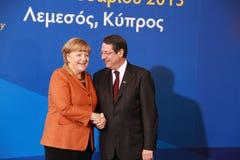 Angela Merkel Anastasiades i Nicos, rywal prezydenta Zdjęcia Stock