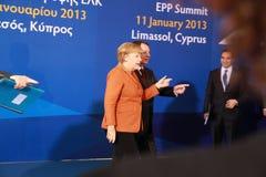 Angela Merkel Anastasiades i Nicos, rywal prezydenta Fotografia Stock