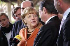 Angela Merkel Anastasiades i Nicos, rywal prezydenta Zdjęcie Stock