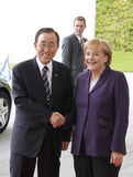 Angela Merkel, Ban Ki Moon Royalty Free Stock Photos