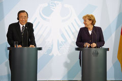 Angela Merkel, Ban Ki Moon Royalty Free Stock Images