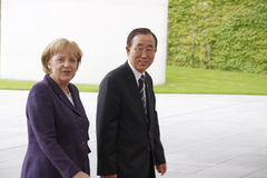 Angela Merkel, Ban Ki Moon Stock Photos